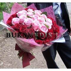 """50 vnt. rožinių ir raudonų rožių puokštė """"Mon Amour"""""""
